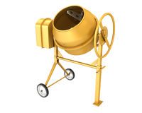 Clean new yellow concrete mixer Stock Photos