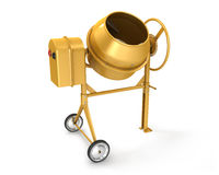 Clean new yellow concrete mixer Royalty Free Stock Photo