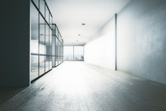 Clean office hallway. Interior with equipment, city view and daylight. 3D Rendering Stock Images