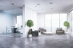 Clean office interior. With decorative plants and city view. Business concept. 3D Rendering Royalty Free Stock Photo