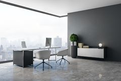 Clean office interior. With panoramic city view, daylight, concrete floor and workplace. 3D Rendering royalty free illustration