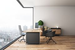 Clean office interior. With panoramic city view, daylight, wooden floor and workplace. 3D Rendering royalty free illustration