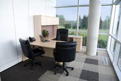 Clean office wide angle view. Royalty Free Stock Photos