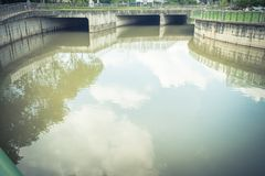 Clean outfall river at Paya Lebar Singapore. With cloud reflection. Singapore successful in maintaining environment, including the drains and rivers, due to its Stock Images