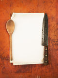 Clean paper menu with knife and spoon as backgroun Royalty Free Stock Photo