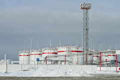 Clean Park of tanks with gasoline at the enterprise is part of LUKOIL. Royalty Free Stock Photography