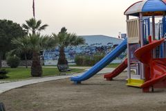 A Clean Park View and Playground. Photo has taken from Mavisehir/Izmir. A shoot from a playground in a park Royalty Free Stock Image