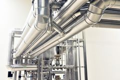 Clean pipelines and tanks in an industrial plant stock photo