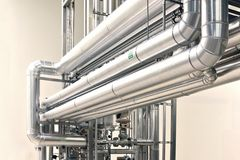 Clean pipelines and tanks in an industrial plant Stock Photography