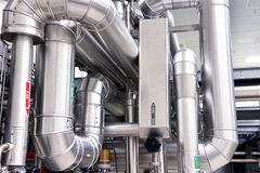 Clean pipelines and tanks in an industrial plant royalty free stock photography