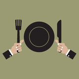 Clean Plate with Knife and Fork Royalty Free Stock Photography