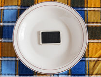 Clean plate with napkin Royalty Free Stock Photography