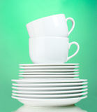 Clean plates and cups Stock Photos
