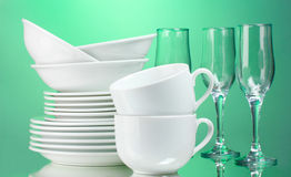 Clean plates, cups Stock Photo