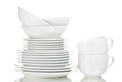 Clean plates and cups Royalty Free Stock Photo