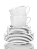 Clean plates and cups Royalty Free Stock Images