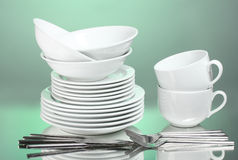 Clean plates, cups and cutlery Stock Image