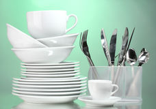 Clean plates, cups and cutlery Royalty Free Stock Image