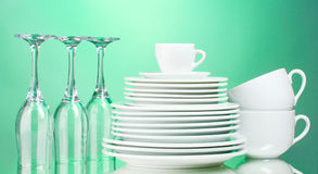 Clean plates, cups and glasses Stock Image