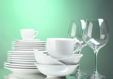Clean plates, cups and glasses Royalty Free Stock Photo