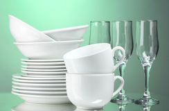 Clean plates, cups and glasses Royalty Free Stock Photos