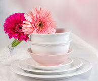 Clean plates and cups Stock Image