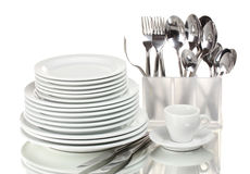 Clean plates and cutlery Stock Photos
