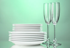 Clean plates and glasses Royalty Free Stock Photo