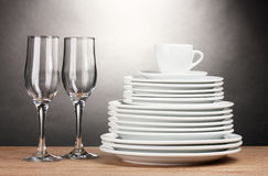 Clean plates, glasses and cup Stock Image