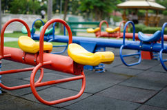 Clean Playgrounds Make Happy. Totter in playground.fun and happy Stock Image