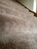 Clean plush carpet on stairs. Freshly cleaned carpeting in light beige on a large room floor. New carpet flooring carpet on stairs in a nice house home interior Stock Photo