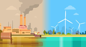 Clean And Polluted Dirty City Environmental Green Energy Concept Wind. Turbine Flat Vector Illustration Royalty Free Stock Images