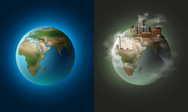 Clean and polluted planets. Vector illustration concept ecological clean planet against pollution environmental Stock Photography
