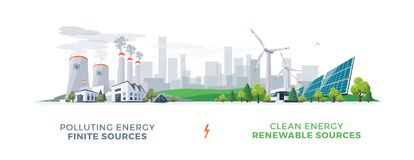 Clean and Polluting Power Stations. Vector illustration showing clean and polluting electricity generation production. Polluting fossil thermal coal and nuclear Stock Photos
