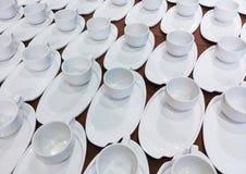 Clean porcelain coffee set. Stock Photo