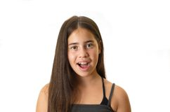 Clean portrait of a surprised 12 year old teenage girl Stock Photography