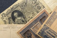 Clean Postcards. Two Old Russian banknotes. Russia, early 20th century. Clean Postcards. Old Russian banknotes. Russia, early 20th century stock image