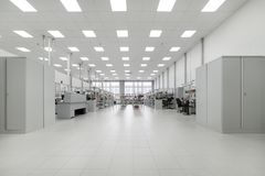 Clean production room. Manufacture of industrial electronics. stock images
