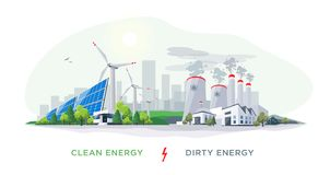 Clean Renewable and Dirty Polluting Power Stations vector illustration
