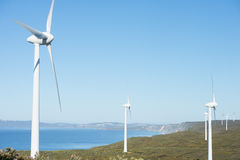 Clean Renewable Wind Power Farm Australia. Wind farm along coast of Southern Ocean in Western Australia, producing renewable clean energy to town of Albany Stock Images