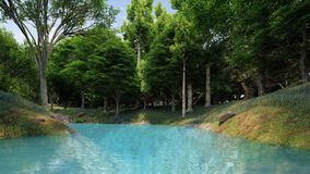 Clean river with blue water in the forest at the daytime. So fresh Royalty Free Stock Photography