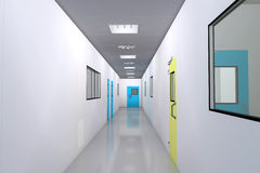 Clean room. With corridor in medical plant interior Royalty Free Stock Photography
