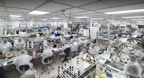 Clean room manufacturing. In biotech industry shot in wide  angle format Royalty Free Stock Image