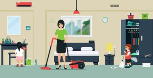 Clean the room. Mom and baby are helping to clean the bedroom stock illustration
