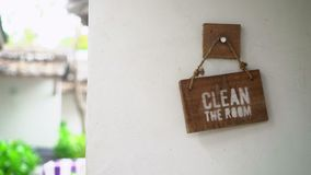 Clean the room sign stock video footage