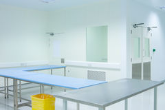 Clean room with tables. In medical packaging plant interior stock image