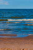 Clean sand beach and blue sky and sea Stock Images