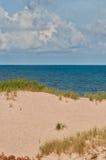 Clean sand beach and blue sky and sea Stock Photos