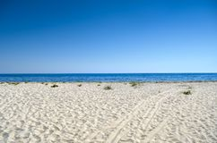 Clean, sandy beach against the blue sea royalty free stock image