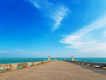 Clean sea beach with blue sky Stock Photos